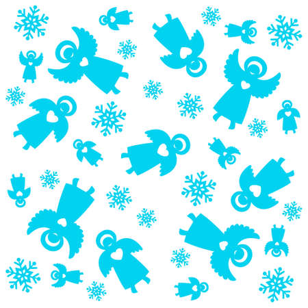 Christmas pattern. Angels and snowflakes. Vector seamless template. Vector