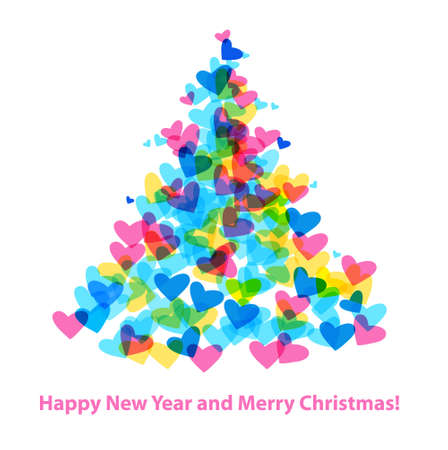 happy new year card: Christmas Tree of Hearts. Holiday greetings. Vector template.