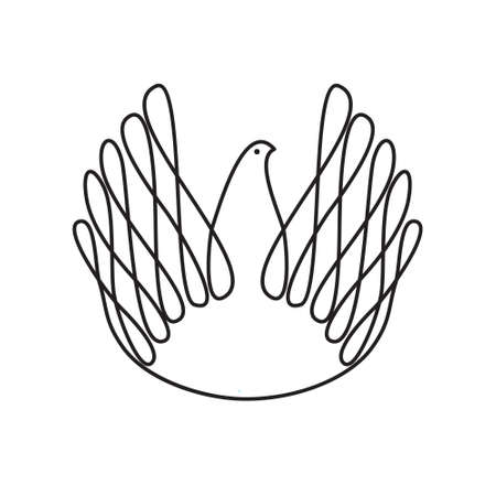 catholicism: The symbol of peace and love - dove of peace. Vector sign.