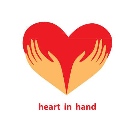 caring hands: Sjabloon van het teken - hart in zijn handen. Symbool - liefde, zorg, ondersteuning, doneren, loyaliteit en hulp. Vector.