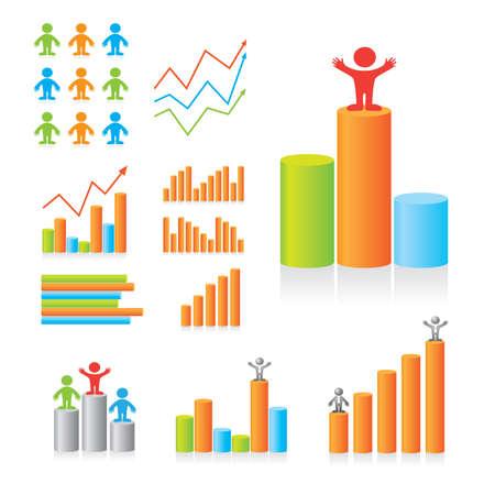 grafico vendite: Designer di progettazione schemi. Gli indicatori principali. Serie di modelli.