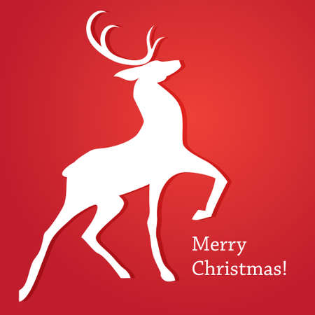 The traditional Christmas card with reindeer. Merry Christmas! Vector