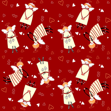 Christmas pattern. Angels and hearts on a red background. Vector