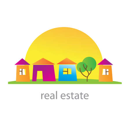 homes for sale: Real estate. Cottage town. Template. Vector. Illustration