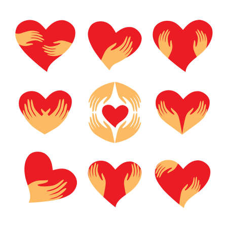 Сollection of signs - heart in his hands. Character - love, care, caring, loyalty and support. Vector set.