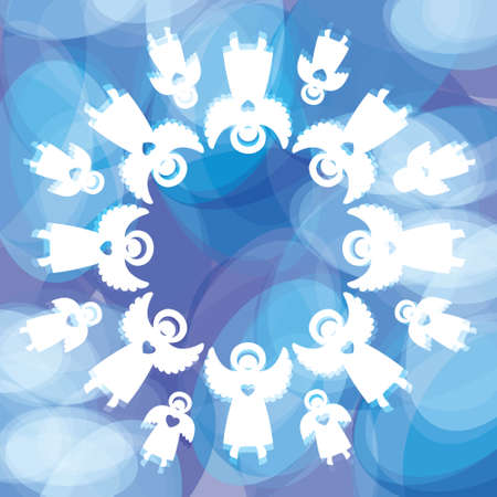 christmas angels: Magical Christmas background. Snowflake of the angels. Template for the text. Vector.