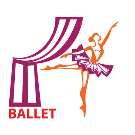 ballet clásico: Plantilla icono de arte - un símbolo del ballet Vectores