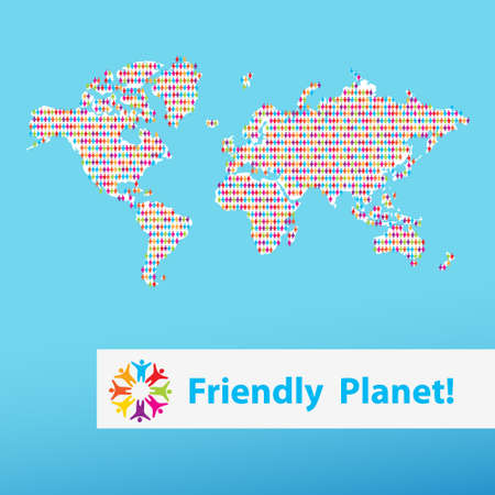 Background - a friendly planet. Different people on the world map Stock Vector - 13762394