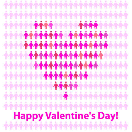 Original postcard Valentine's Day. The idea for the festive design Stock Vector - 13762386