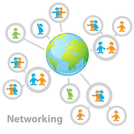 International Network - connecting people: information, business, friendship, communication of interests Vector