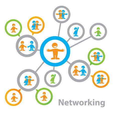 Netwerk - de relatie tussen mensen: business, vriendschap en gemeenschap. Mogelijke variaties Vector Illustratie
