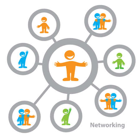 Networking - die sozialen Verbindungen zwischen den Menschen: business, Freundschaft, Kommunikation von Interessen Vektorgrafik
