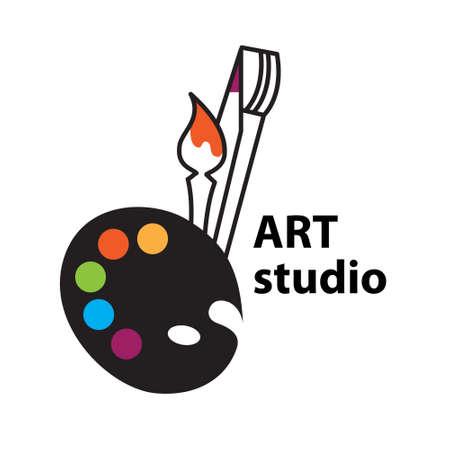 Art-studio sign - Brush and Palette Icon Векторная Иллюстрация