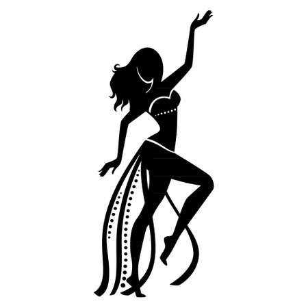 black silhouette of a woman dancing belly dance on a white background Vetores