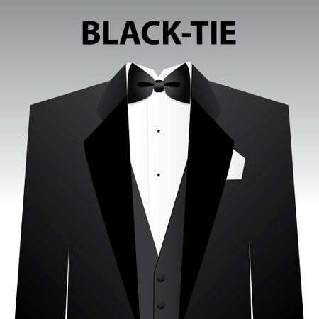 Dress code - Black tie. The man - a black tuxedo and black butterfly.  Vector
