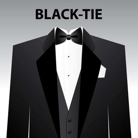 lazo negro: Dress code - corbata Negro. El hombre - un esmoquin negro y mariposa negro.