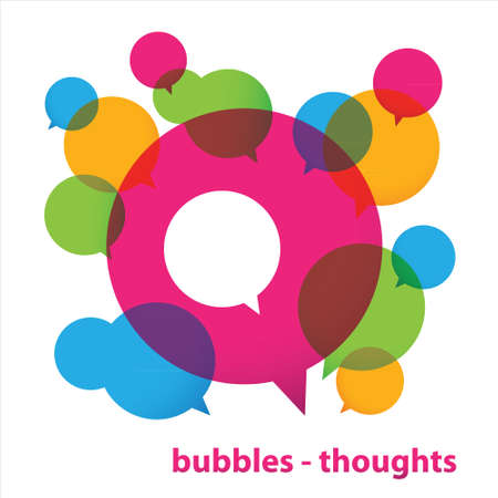 Bubbles - thoughts. Collection of colorful speech bubbles and dialog balloons. Vector Stok Fotoğraf - 17249680