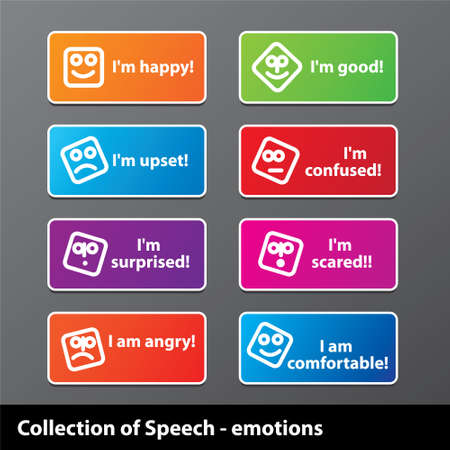 Collection of speech - emotion. Happiness, joy, grief, fear and other. Stock Vector - 17249603