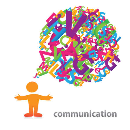 Person with a speech bubble of colored letters. The symbol of communication. Vector