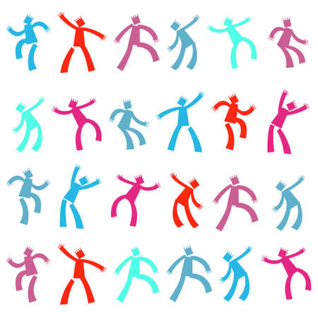 Set of funny cartoon dancing people. Vector