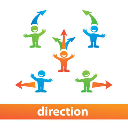 right choice: Direction. The choice of the way - left, right, up.