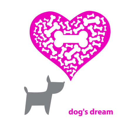 Contemporary illustration - Dog Dreaming About A Bone. Vector