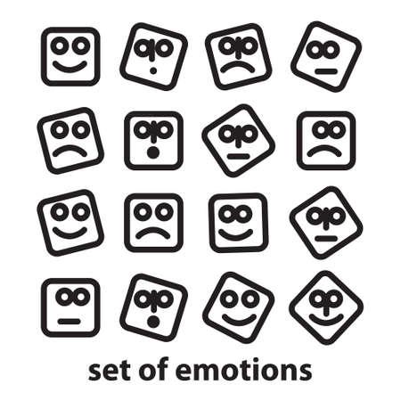 indignation: Set of emotions - a collection of signs representing various emotions: joy, sadness, anger, confusion, emotion, etc. Illustration