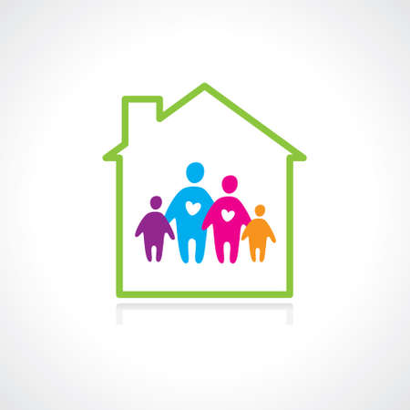 protect family: Family and home concept. Silhouette family icon and house. Illustration