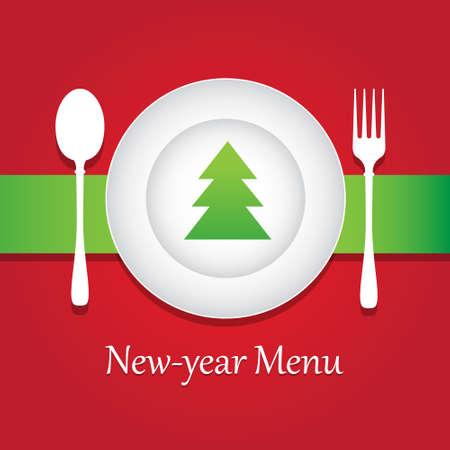 newyear: Especial de A�o Nuevo y Navidad men� restaurante. Vectores