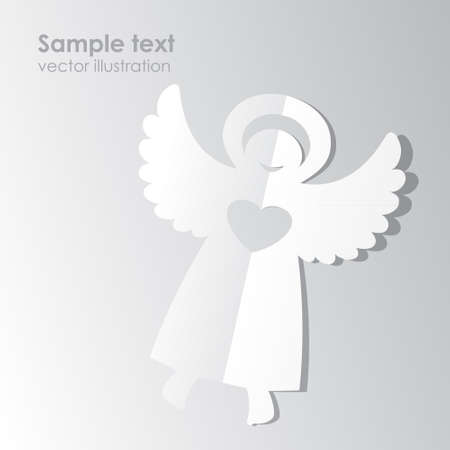 Paper white angel on a white background.  Vector