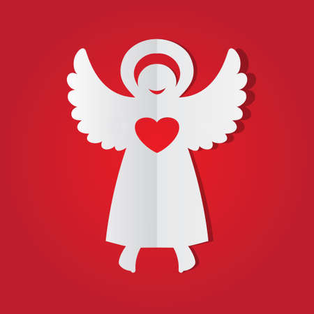 two hearts together: Paper angel.  Illustration