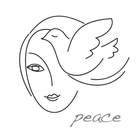El signo - signo de la paz. Una muchacha y una paloma. Ilustración de vector