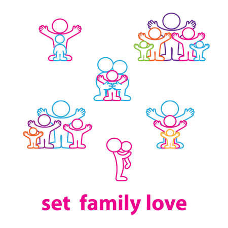 two hearts together: Collection of icons - the love family: kids and parents Illustration