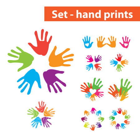 Set of colorful hand prints. Options. Vector