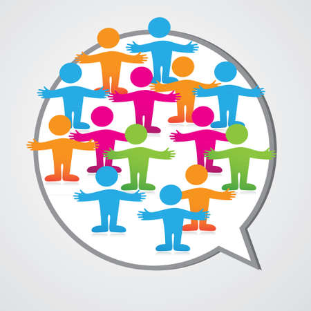 Social media people inner circle Speech Bubble. Vector