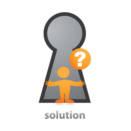 key to success: Solution. Illustration - a symbol of the decision. The person in front of the keyhole.