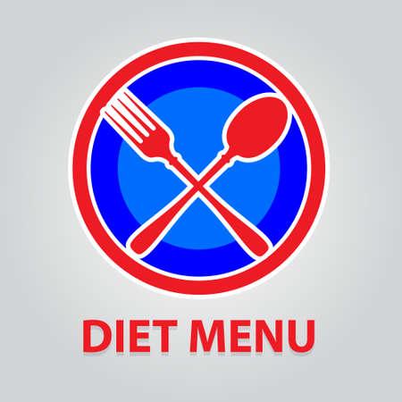 Sign - a dietary menu. Symbolic sign ban on food. Illustration