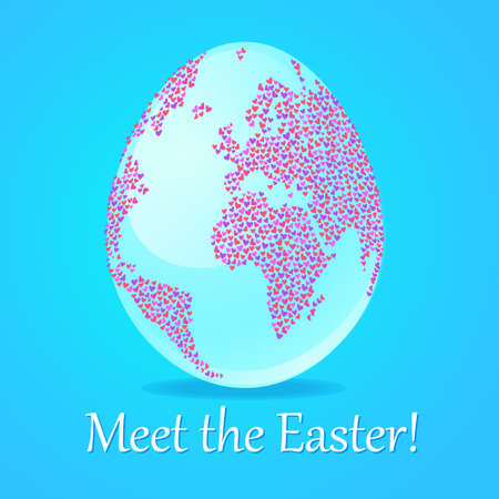 Poster - Easter meeting. Egg - Earth with continents of hearts. Vector