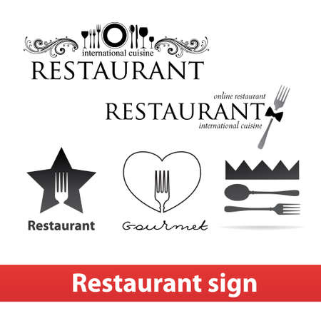 Collection of signs and restaurant.