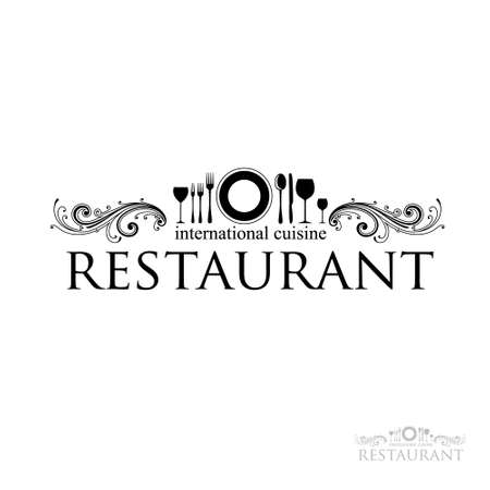 knife and fork: idea for a sign - restaurant - International cuisine. Illustration
