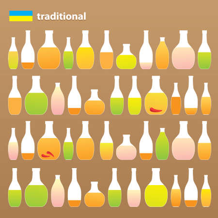 opener: Collection of traditional alcoholic beverages - liquor, vodka, vodka with pepper gorilka. Alcohol Russia and Ukraine.