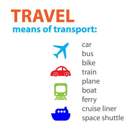 Viaggio. Diversi mezzi di trasporto. Schema vettoriale.