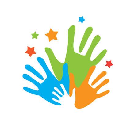 personas ayudando: Firma de amigos. Vector s�mbolo que une la amistad y la familia.