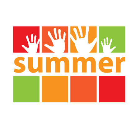Summer! Poster idea. Sign of summer with prints of palms. vector Stock Vector - 20865329