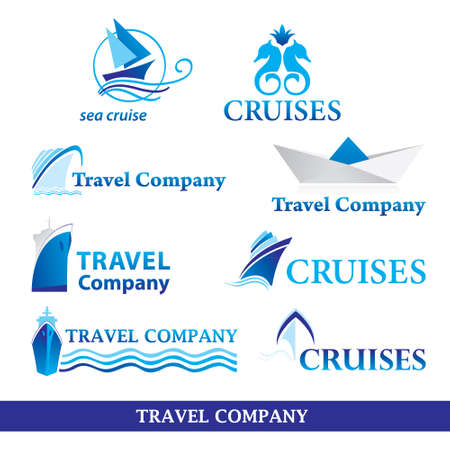 Collection of signs for tourism companies. Voyage, cruise. vector set