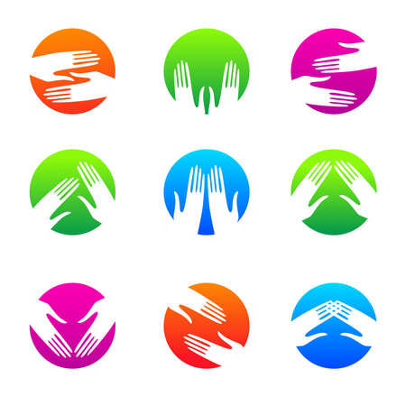 caring: collection of templates symbols - hands in a circle