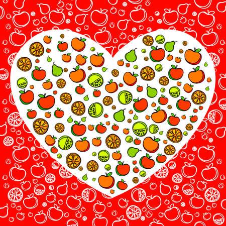 buena salud: Alimentos sanos - el corazón de las frutas y hortalizas en el patrón de fondo rojo. Vectores