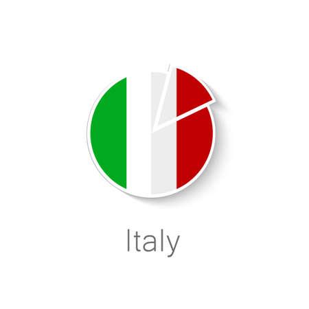 restaurante italiano: Icono Flat - pizza italiana - forma de pizza en el color de la bandera de Italia.