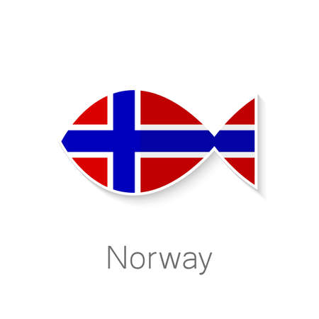 Flat icon - Norway fish - fish shape in the color of the flag of Norway. Vector