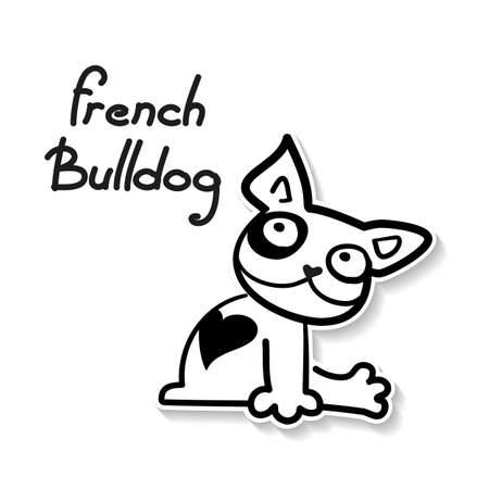 Funny French Bulldog - funny sketch illustration.